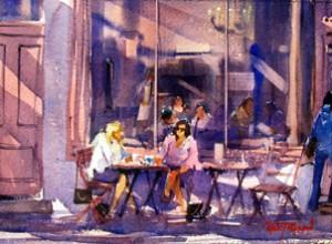 2010 Jacky Pearson (Nieuw Zeeland), 'Levendigheid op straat en op het water', aquarel straattaferelen, ateler van vegchel