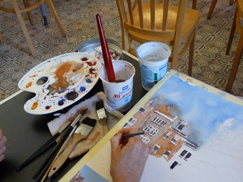 detail van een schilderhand
