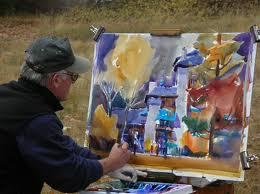Frank Francese aan het werk, ateliermargovanvegchjel, Masterclass aquarel Holland